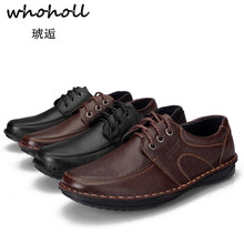 Whoholl Brand New 2018 Men Casual Shoes Leather Spring Autumn Holes Luxury Flat Shoe for Drop Shipping Plus Size 38-44