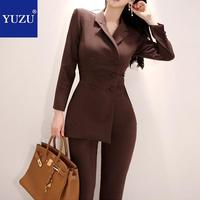 Rompers Womens Jumpsuit Winter 2018 Office Blazer Style Brown Double breasted Long Sleeve Overalls Elegant One Piece Jumpsuit