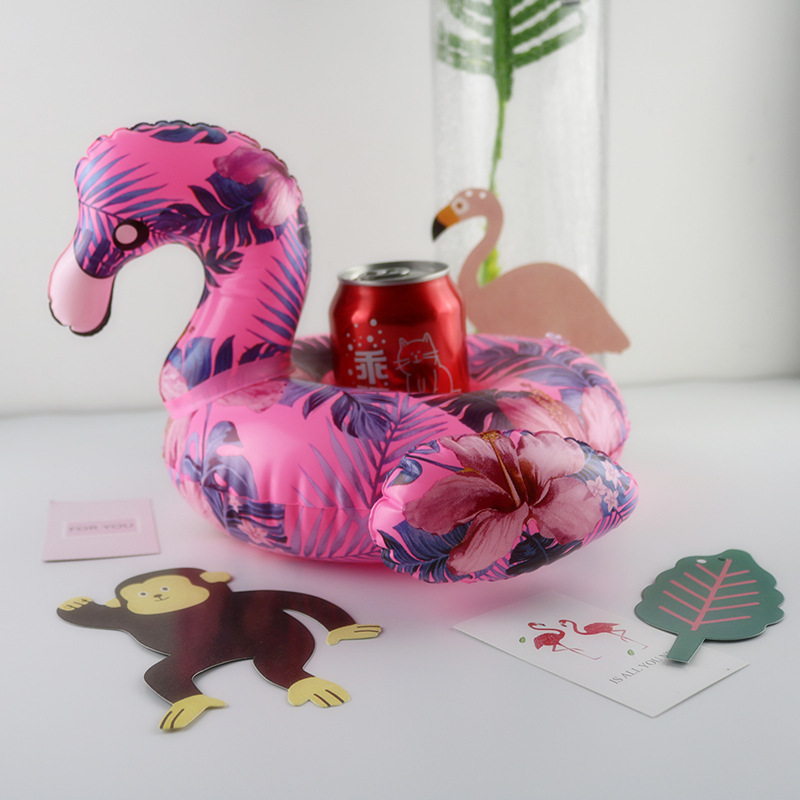 Flamingo Float Cup Holder Drink Coasters Inflatable for Swimming Pool Baby shower Hawaiian Beach Flamingo Party Decor Supplies,8