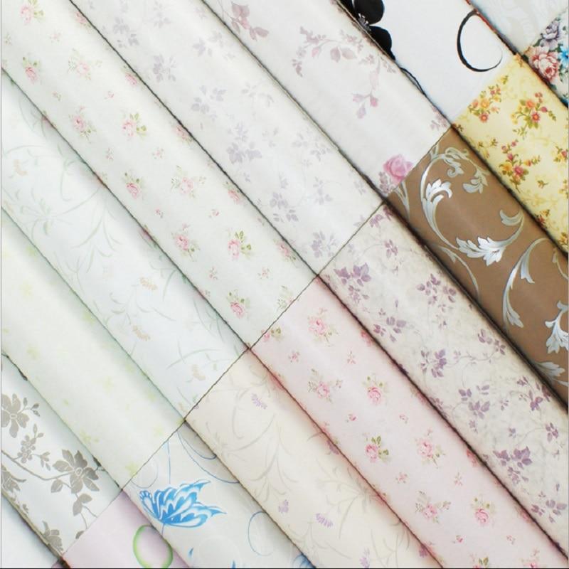 ФОТО 10m*45cm PVC vinyl flower self-adhesive boy girl children room bedroom dorm waterproof wardrobe desktop wallpaper wall stickers