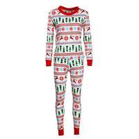 2pcs Set Winter Women Christmas Clothing Set Family Matching Pajamas Long Sleeve Floral Print T Shirt