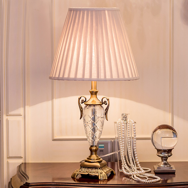Luxary Classic American Bedroom Table Light Foyer European Crystal Table  Lamp Glass Tall Table Light Bedside