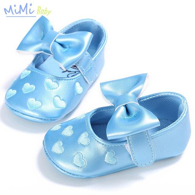 Baby Girl Обувь 2017 Весной Новый Чистый Цвет Бантом Детские Мягкие дном Обувь 0-1 Лет PU Кожа Крытый Малыша Prewalker