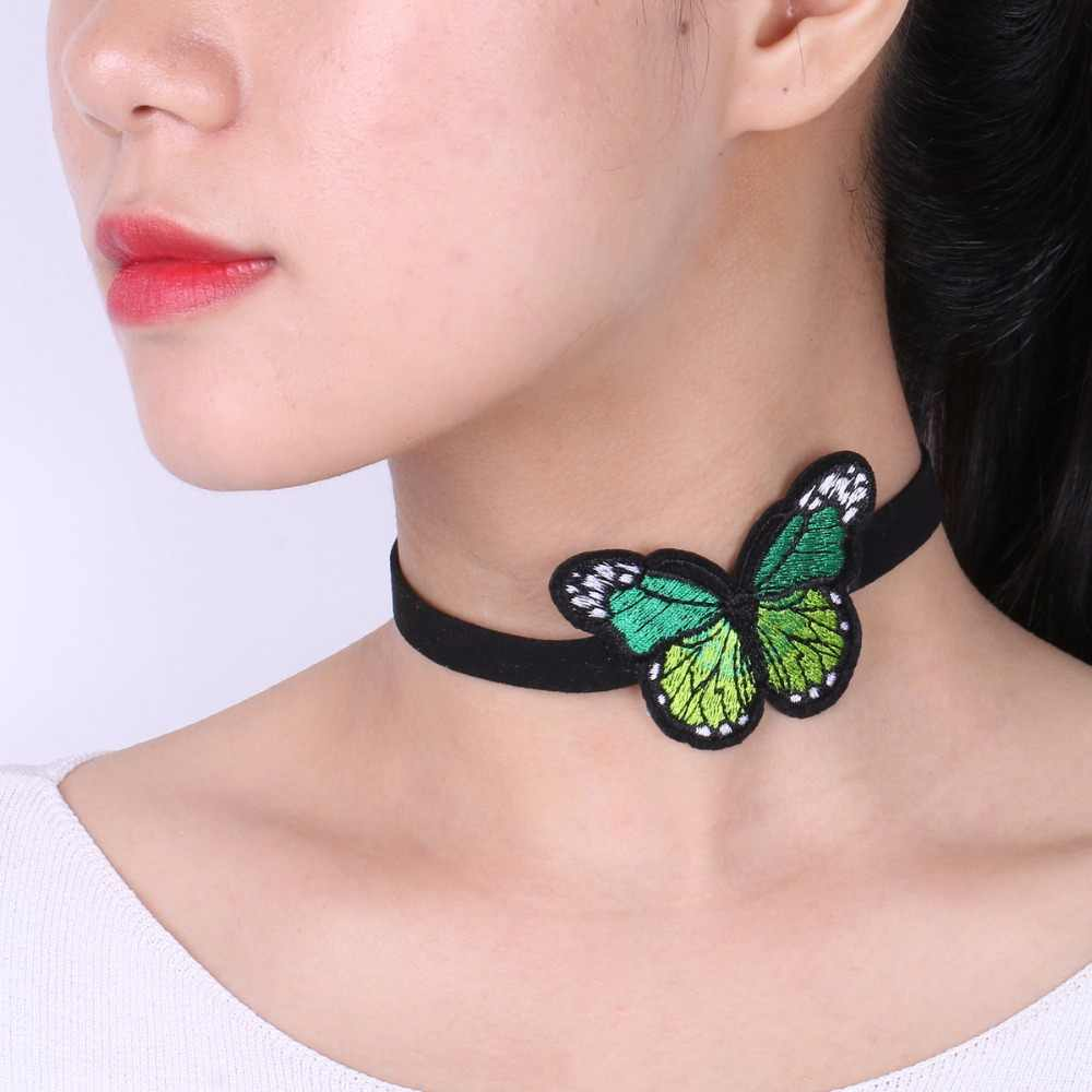Fashion Embroidery Butterfly Choker Necklace for Women Fashion Steampunk Maxi Necklace Velvet Chocker Jewelry collar ras de cou