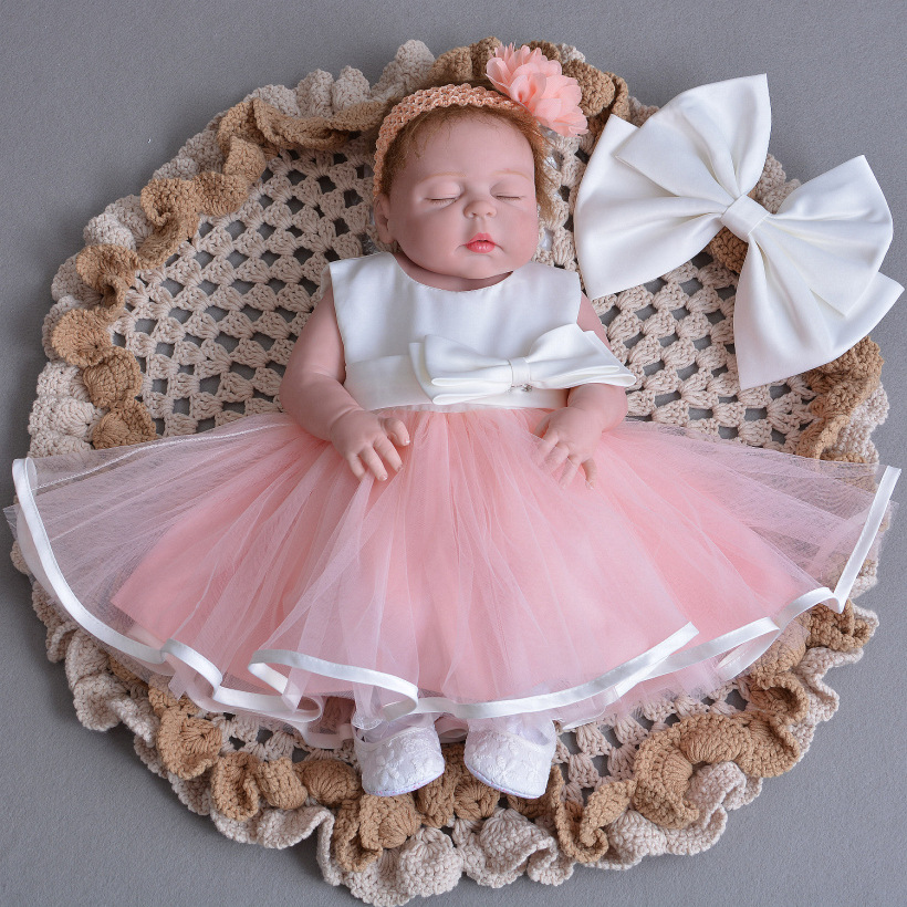1 Year Old Birthday Baby Girl Dresses with Jacket Pink Bow Party Vestido  2018 Toddler Baby