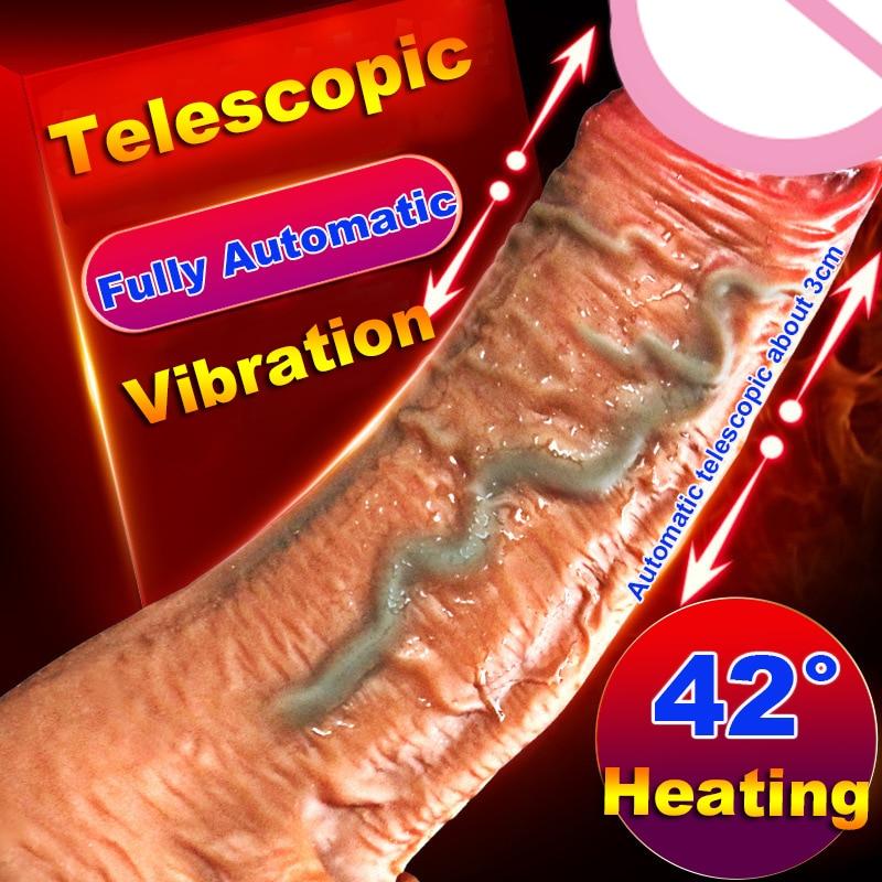 Automatic Telescopic Heating Penis Vibrator Female Masturbation Super Realistic Dildo Vibrator Erotic Sex Products Adult Toys