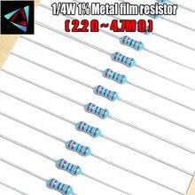 100 шт. 1/4 Вт 1% Металл пленочные резисторы 2.2 м 2.4 М 2.7 м 3 м 3.3 М 3.6 м 3.9 м 4.3 м 4.7 м Ом