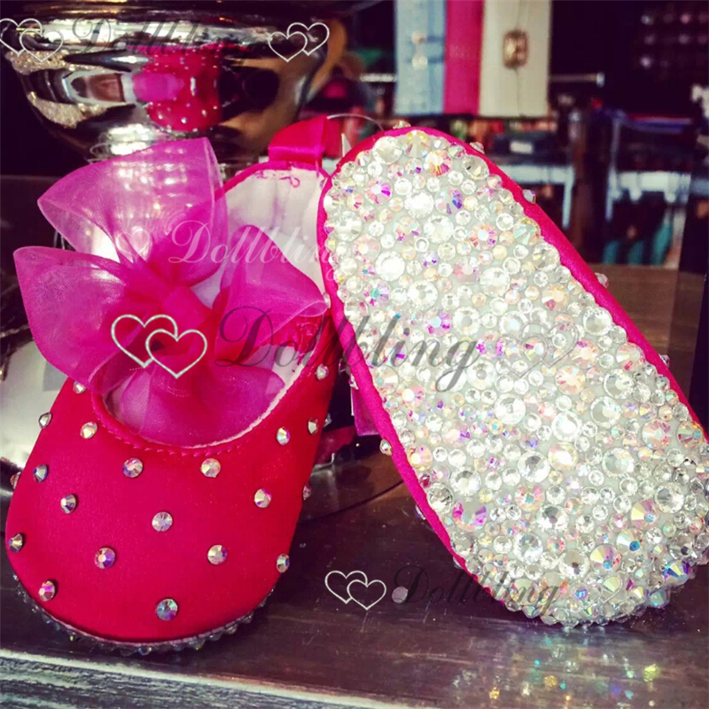 ФОТО Design Hot pink Ballerina Organza Match 100 day baby shoes 0-1Y princess custom litte girl bling celebrity first walkers
