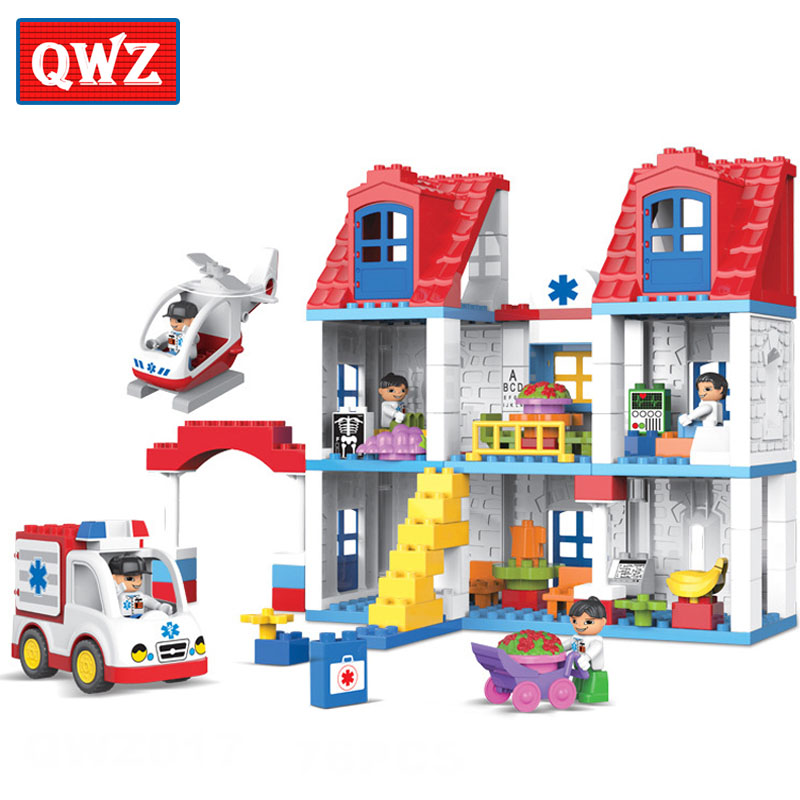 QWZ Brand 120pcs City Hospital Rescue Center Model Building Blocks Large Size Brick Toys Compatible With Duplo For Kids Gifts qwz 39 65pcs farm animals paradise model car large particles building blocks large size diy bricks toys compatible with duplo