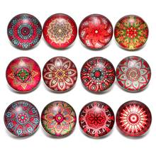 12pcs/lot Red Series Theme Beautiful Exotic Pattern 18mm Snap Button Charms For 18mm Snaps Bracelet Snap Jewelry KZ0624