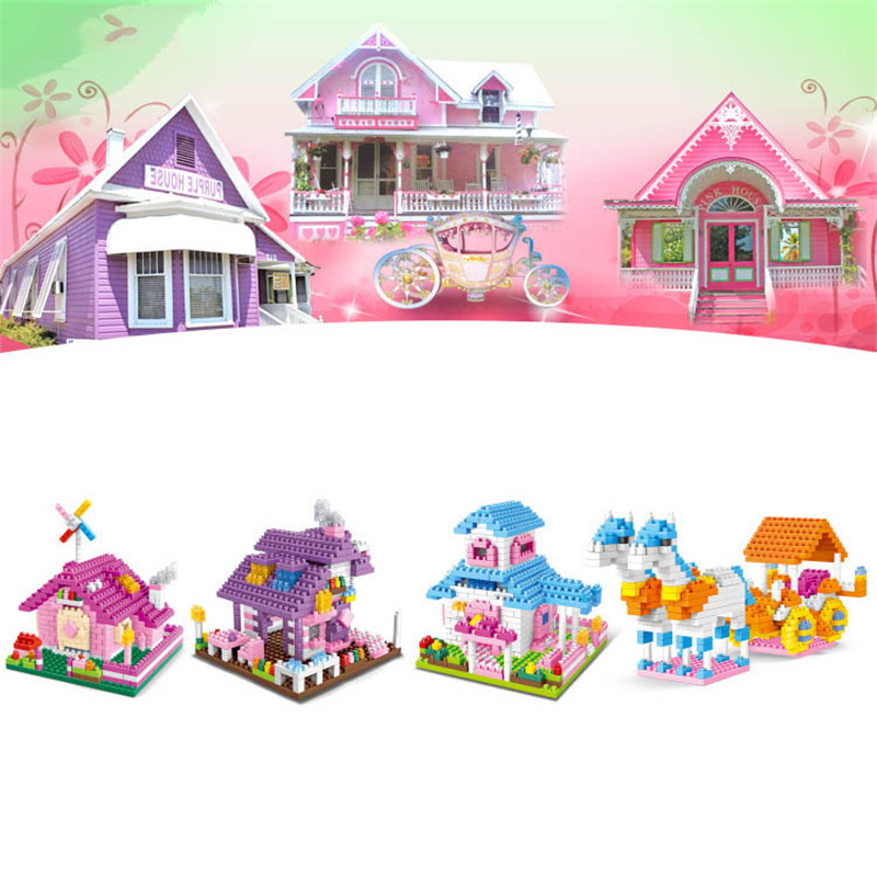 YZ baby fairy tale  House Building Blocks Construction Toy Kids Brain Game Learning Educational Toys Free shipping 24pcs plastic baby kid children house building blocks toy brick construction developmental toy set brain game baby play house