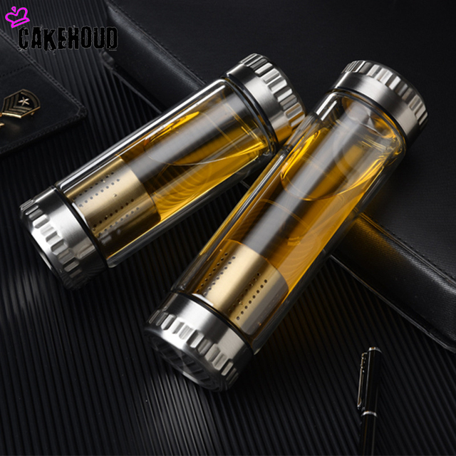 Drop shopping 400ML Business Water Bottle Glass Bottle Stainless Steel Tea Infuser Filter Double Wall Glass Sport Water Tumbler 1
