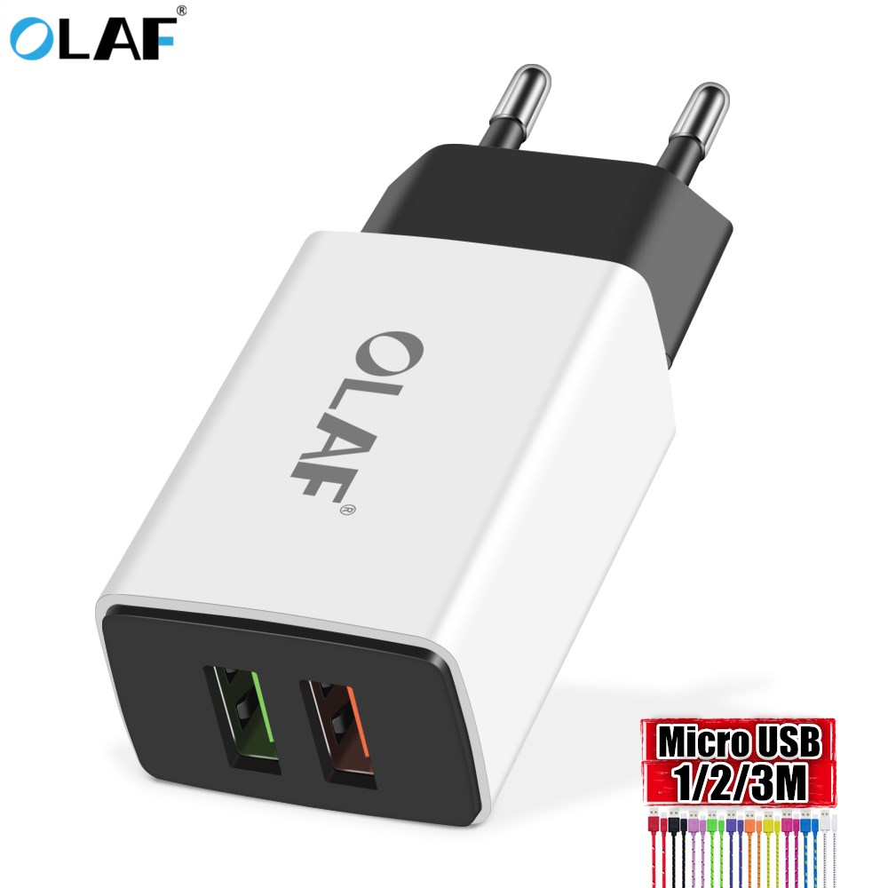 OLAF 2.1A Dual Port USB Charger Travel Adapter For Samsung Xiaomi Android Mobile Phone 1m/2m/3m Wholesale Weave Micro USB Cable