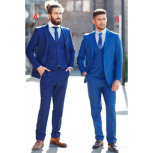 Custom Made New Style Navy Blue Wedding Men Suits Slim Fit 3 Pieces Groom Tuxedos Suits Prom Blazer (Jacket+Vest+Pants)