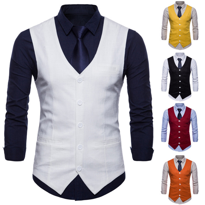 British Style Men's Candy Color Cotton Slim Suit Vest 2018 Men's Casual Solid Color Single-breasted Vest For Male 2018 9 Colors