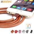 Bastec moda couro super forte 20 cm/100 cm de metal plugue micro usb cabo para iphone 7 6 6 s plus 5S 5 ipadmini/samsung