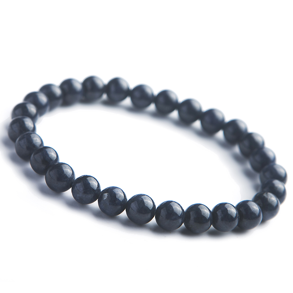 Natural Blue Sapphire Faceted Gemstone Beaded Bracelet 925 Silver Clasp 7.5/'/'
