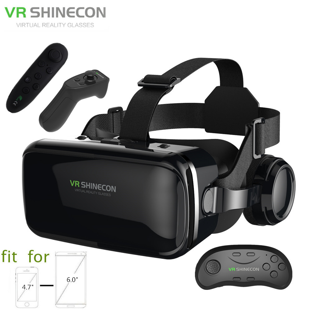 3D Glasses Box VR Headset Shinecon G04E Helmet Virtual Reality Goggles With Headphone PK BOBOVR Z4 For 4.7-6.0 Phone+Controller vr shinecon sc g06e box headset virtual reality 3d vr glasses with headphone for mobile phone