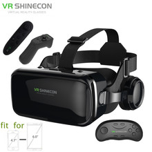 3D Glasses Box VR Headset Shinecon G04E Helmet Virtual Reality Goggles With Headphone PK BOBOVR Z4 For 4.7-6.0″ Phone+Controller