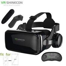 "3D Glasses Box VR Headset Shinecon G04E Helmet Virtual Reality Goggles With Headphone PK BOBOVR Z4 For 4.7-6.0"" Phone+Controller"
