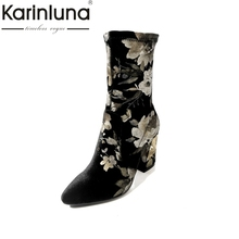KARINLUNA 2017 Brand Design Large Size 33-43 Pleuche Printing Woman Shoes Women Fashion High Heels Ankle Boots
