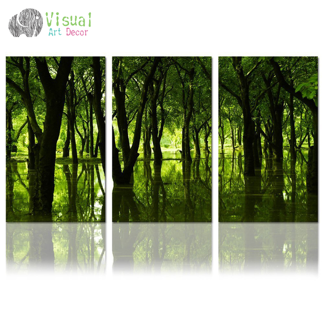 Forest canvas wall art well designed reflection of green trees large size landscape canvas print nature