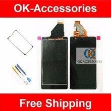 Hq negro herramientas gratuitas + cinta adhesiva para sony xperia zr m36h c5502 c5503 lcd + pantalla táctil digitalizador asamblea 1 pc/lot