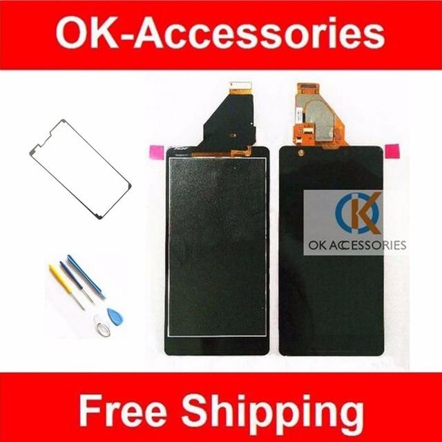 Hq preto ferramentas gratuitas + fita adesiva para sony xperia zr m36h c5502 c5503 lcd + touch screen digitador assembléia 1 pc/lote