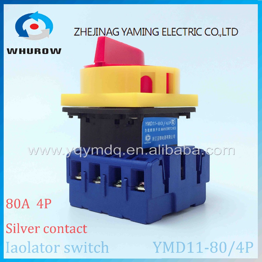 Isolator switch YMD11-80A 4P load break switch universal power cut off switch on-off changeover cam switch 8 sliver contacts ui 660v ith 32a on off load circuit breaker cam combination changeover switch