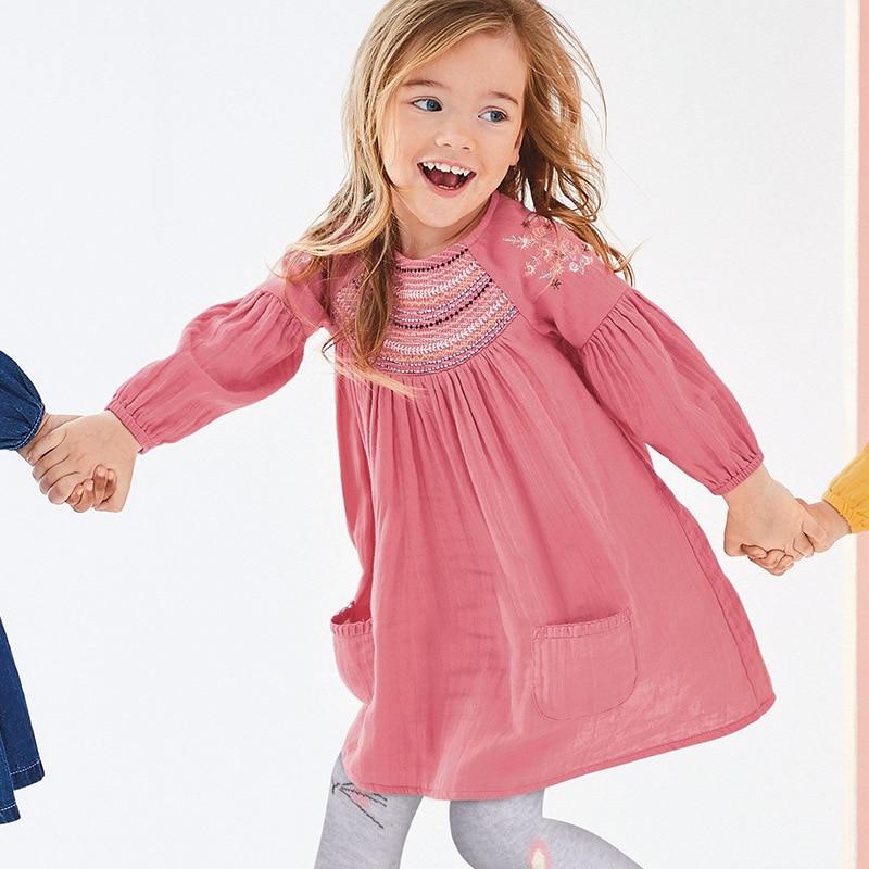Little maven 2-7Years 2021 Autumn Bay Girls Child Toddler Flower Embroidery Pocket Dress Children Kids Tops Tees Fall clothing 3