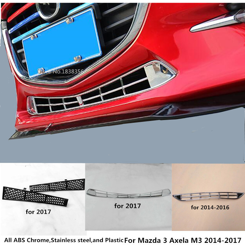 For Mazda 3 Axela M3 2014 2015 2016 2017 Car cover stick detector ABS chrome trim Front bottom racing Grid Grill Grille frame for nissan teana altima 2013 2014 2015 abs chrome front bottom grill cover grilles trim cover car styling accessories