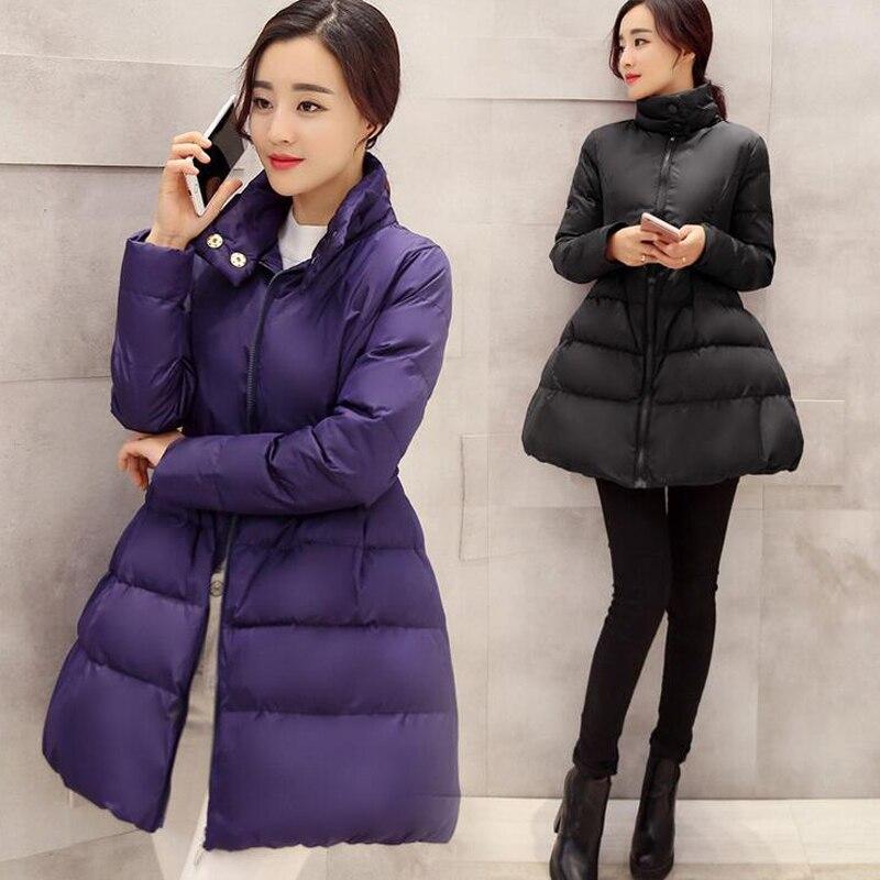 2016 New Fashion Winter Temperament Solid Color Zipper Stand Neck Full Sleeve Slim Coat Down Cotton
