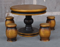 christmas Old Chinese Folk Home Copper Decorate Round Four Stool Table Chair Desk Set halloween
