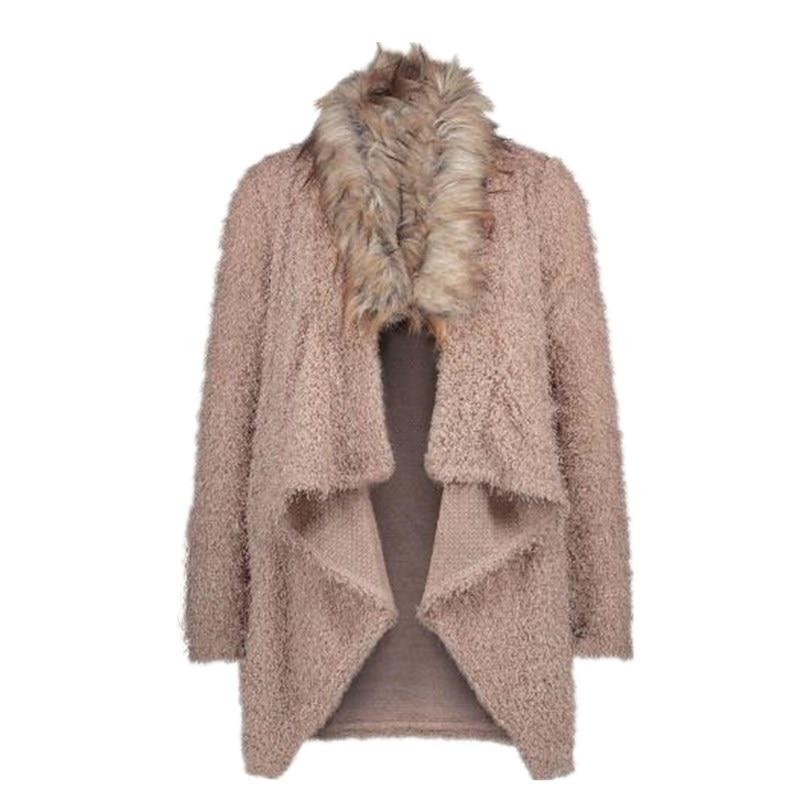 Women Autumn Spring Cardigan Plush Coat   Trench   Fashion Long-Sleeve Overcoat Women Soft Fur Collar Coat Windbreaker