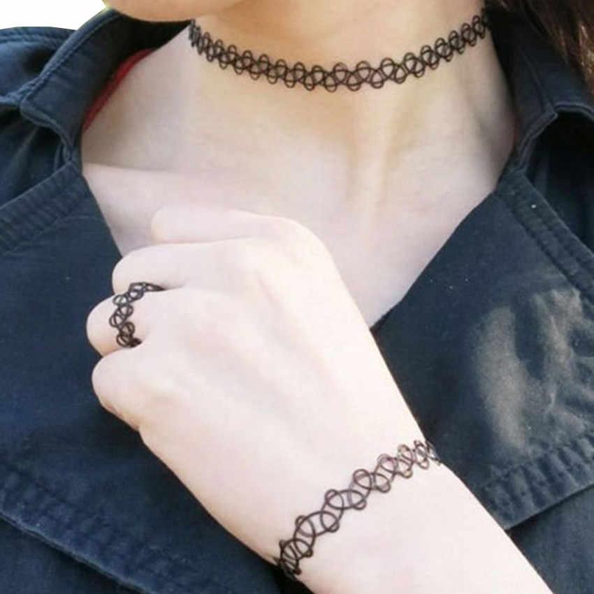 Élégant bijoux femmes 3 pièces collier ras du cou anneau Bracelet ensemble de bijoux Stretch velours classique gothique Tatto cadeau charme collier