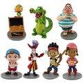 Novo 7 pçs/set Anime Cartoon Jake e Os Piratas Neverland PVC Figura de Ação Brinquedos