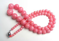 Jew3114 Top Quality Natural Argentina Rose Rhodochrosite Round Bead Necklace AAAA