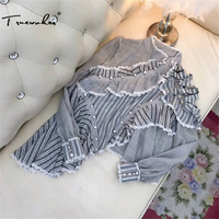 Truevoker Europe Spring Designer Top Women S High Quality Long Sleeve Stand Collar Striped Printed Lace