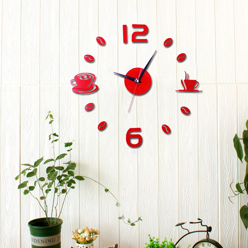 Compare Prices on Red Wall Clock Acrylic Creative Online Shopping