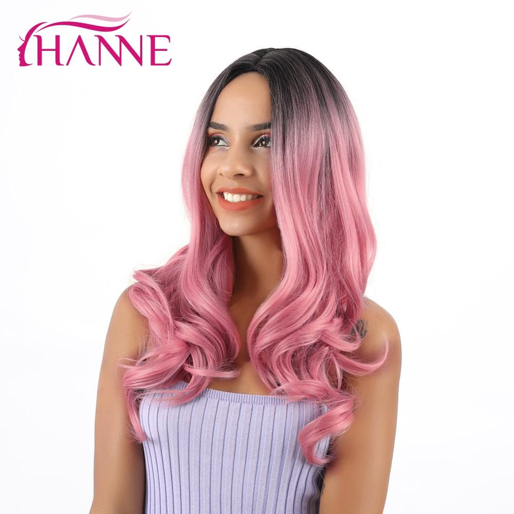 HANNE Ombre Pink Synthetic Wigs For Women  Long Wavy Wig Pink Middle Part Wigs Natural Cosplay Hair Female Party Hair