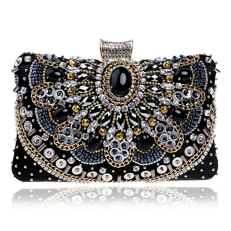Luxury Diamonds Women Evening Bags Rhinestones Small Handbags Retro Crystal Day Clutches Chain Shoulder Bags Lady