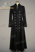Victorian Elegant Gothic Thick Wool Buttons Ornamental Frock Coat For Man Ankle Length