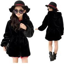 Girls Winter Faux Fur Fleece Girls Coats Kids Warm Jacket Children Snowsuit Outerwear Dress Style Jacket