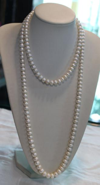 купить Genuine Freshwater Pearl Necklace,7-8mm White Color 60 Inches Long Pearl Necklace,Charming Lady's Party Wedding Jewelry по цене 4236.24 рублей