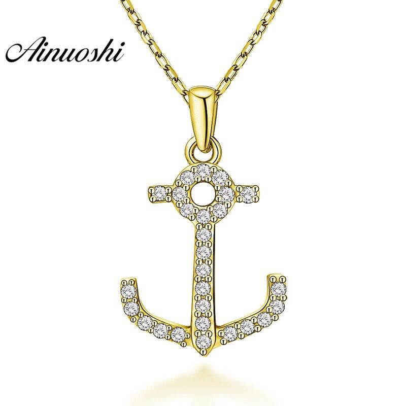 AINUOSHI 10K Solid Yellow Gold Pendant halberd Pendant SONA Diamond Women Men Gold Jewelry Delicate Tool Design Separate Pendant
