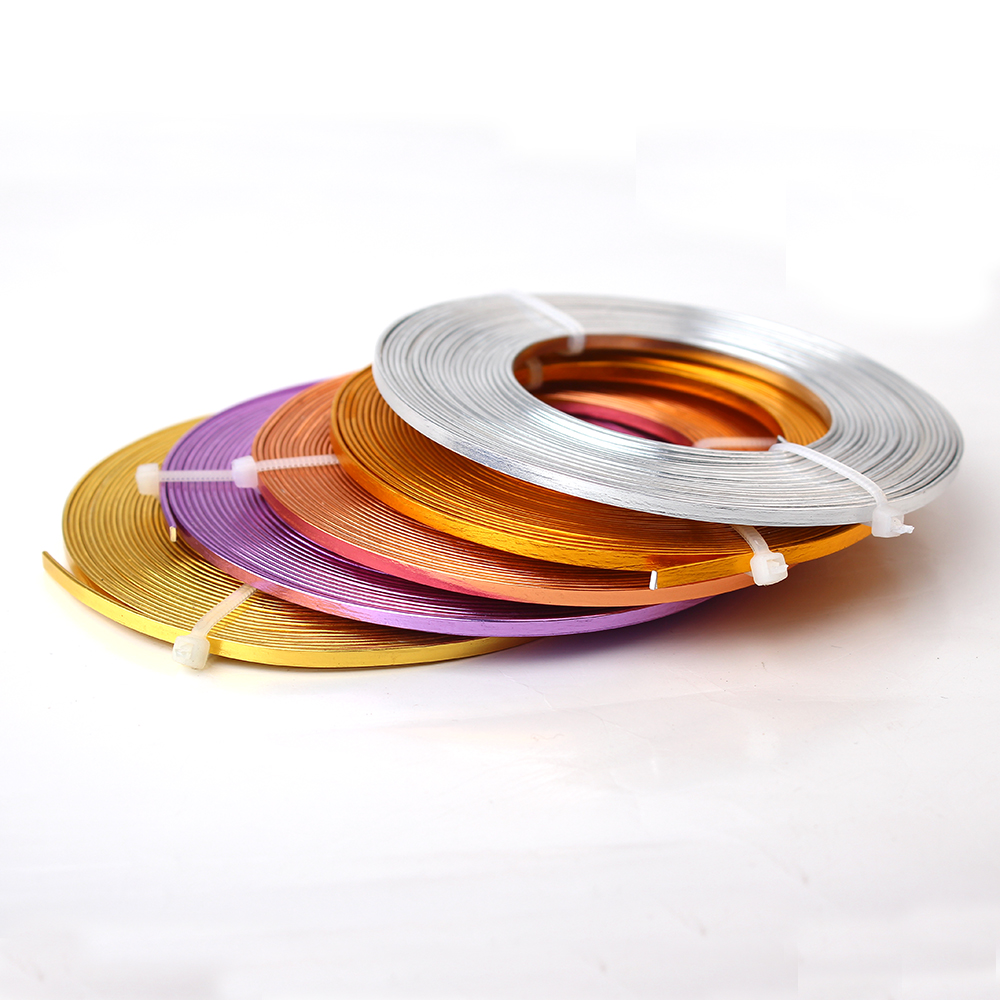 Flat Anodized Aluminum Wire Gold Silver Blue Red Black Purple Coffee ...