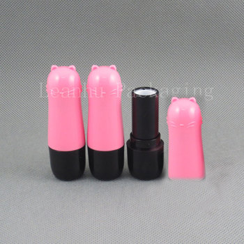 DIY essential balm lipstick tube new  homemade beauty mouth wax tube rotating cartoon cat pink section