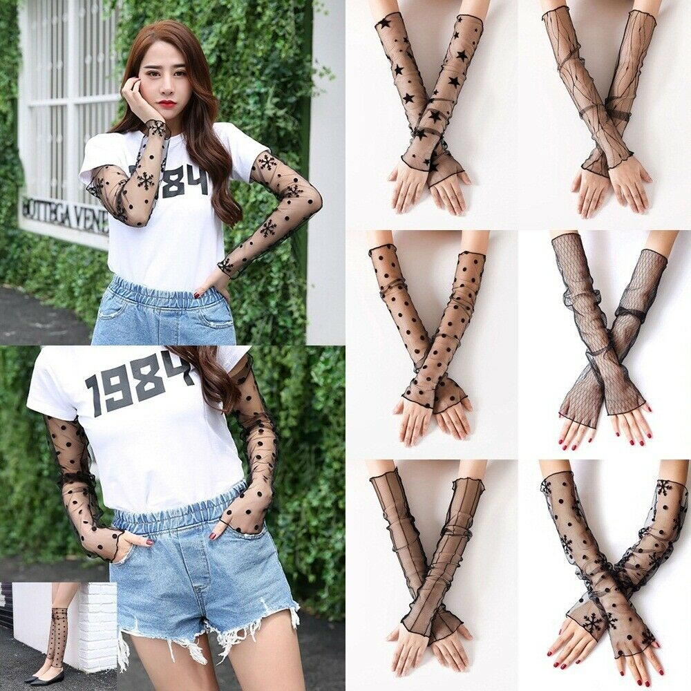 Women Lace Arm Sleeves Outdoor Sunscreen Driving Sleeve Cycling Running Bicycle UV Sun Protection Long Cuff Cover Ice Fabric