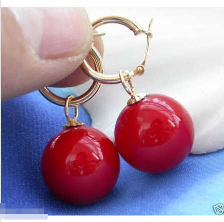 Rare Huge 12mm Tahitian Coral Red South Sea Shell Pearl Earring