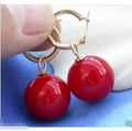 Free shipping Rare Huge 12mm Tahitian Coral Red South Sea Shell Pearl Earring